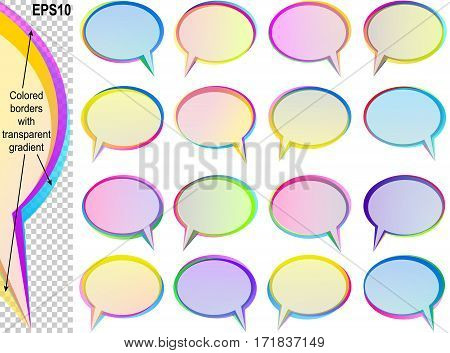 Banners from Speech bubbles with copy space; Text balloons with transparent overlapping colored borders; Vector set icon of elliptical frames Eps10