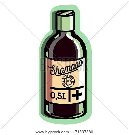 Color vintage remedy for baldness emblem, vector illustration isolated on white background. Logos for medical hear transplantation centers