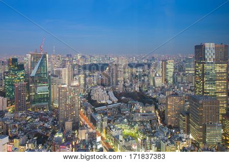 Tokyo city central business downtown with twilight skyline background Japan
