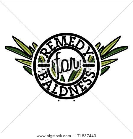 Color vintage remedy for baldness emblem, vector illustration isolated on white background. Logos for medical hear transplantation centers