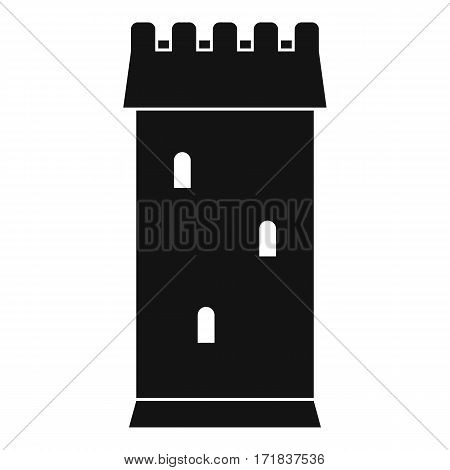 Fortress tower icon. Simple illustration of old fortress tower vector icon for web