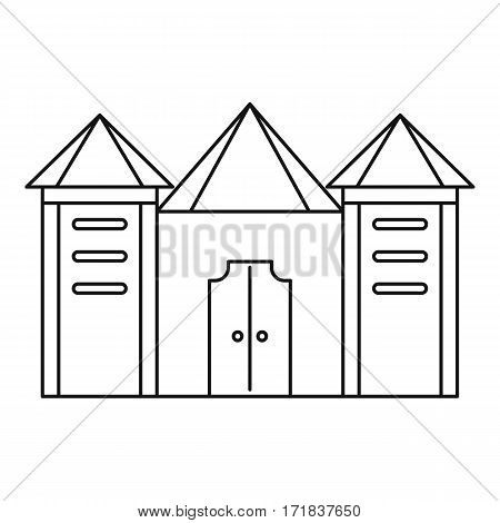 Residential mansion with towers icon. Outline illustration of residential mansion with towers vector icon for web