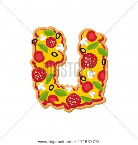 Letter U Pizza Font. Italian Meal Alphabet. Lettring Fast Food