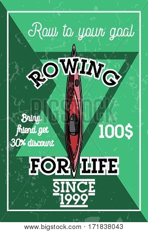 Color vintage rowing banner. Sport Infographic Canoe Kayak Paddler olympics Vector Illustration.