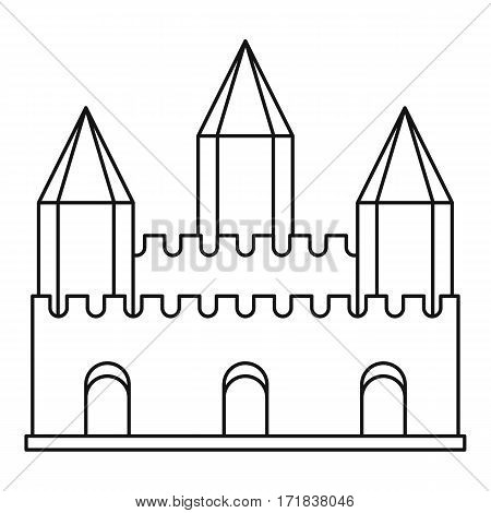 Ancient fort with towers icon. Outline illustration of ancient fort with towers vector icon for web