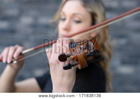 Woman Playing Violin Soft Focus