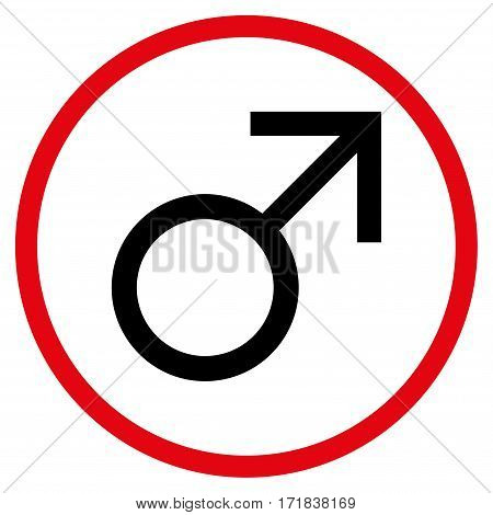 Mars Male Symbol rounded icon. Vector illustration style is flat iconic bicolor symbol inside circle intensive red and black colors white background.