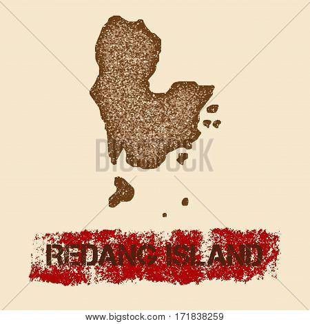 Redang Island Distressed Map. Grunge Patriotic Poster With Textured Island Ink Stamp And Roller Pain