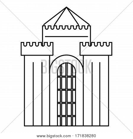 Fortress with gate icon. Outline illustration of fortress with gate vector icon for web
