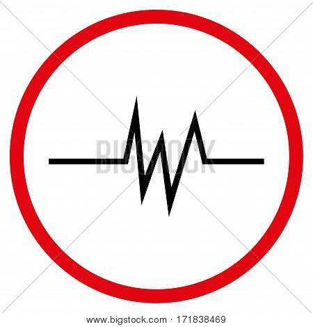 Pulse Signal rounded icon. Vector illustration style is flat iconic bicolor symbol inside circle intensive red and black colors white background.