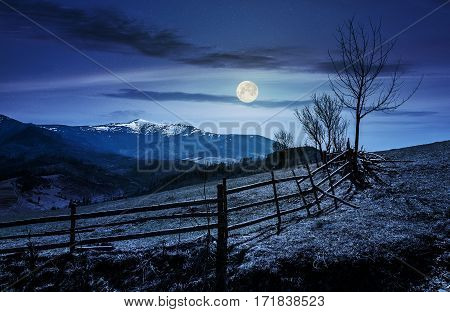 Wooden Fence Along The Path In Mountains At Night