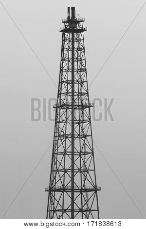 Black and White Oil refinery tower industrial building