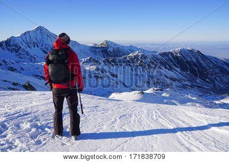 Winter trekking in the Transylvanian Alps, Romania