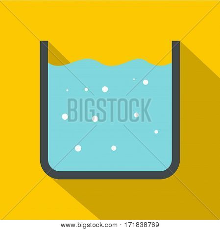 Beaker with pure blue water icon. Flat illustration of beaker with pure blue water vector icon for web isolated on yellow background