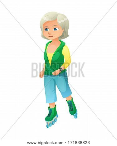 vector illustration of an old active lady with smart watch, who is dressed in a sport wear. She is rollerblading