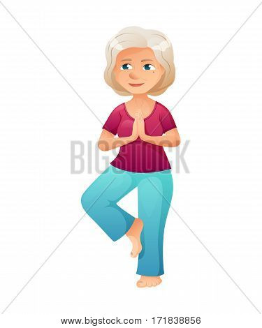 vector illustration of an old active lady, who is dressed in a sport wear. She is doing yoga.