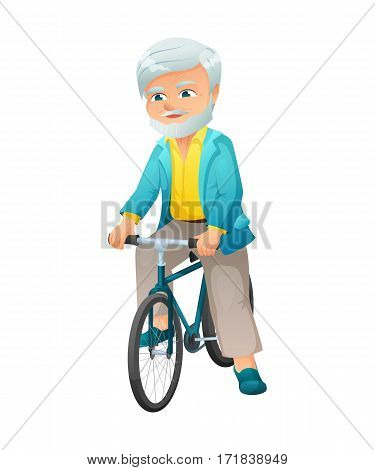 vector illustration of an old active man with mustache and beard, who is dressed in a elegant suit. He is ready to go on a bike..