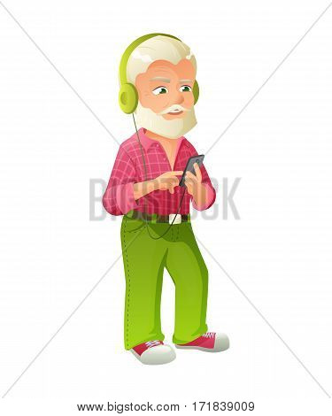 vector illustration of an old active man with mustache and beard, who is dressed in a checked shirt. He is standing and listening to music on smartphone