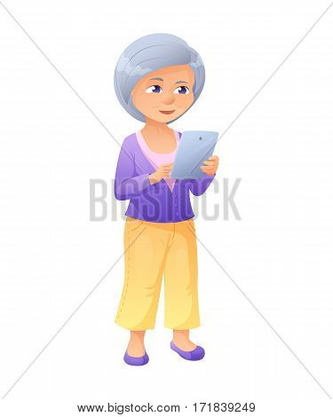 vector illustration of an old active lady, who is dressed in jeans and cardigan. She is standing and surfing the internet on a tablet