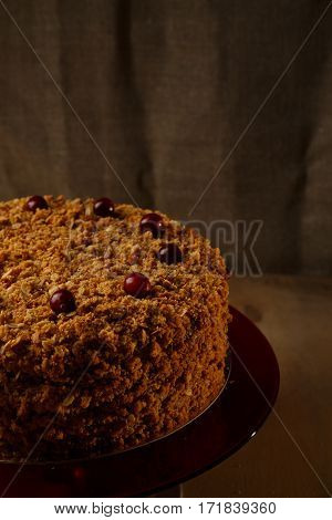 Homemade honey cake with nuts and spices