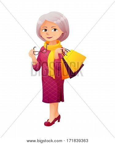 vector illustration of an old active lady with glasses, who is dressed in a elegant dress. She is shopping and carrying a bunch of shopping bags.