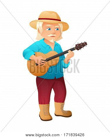 vector illustration of an old active man with long hair, mustache and beard, who is dressed in a shirt and hat. He is standing and playing the guitar