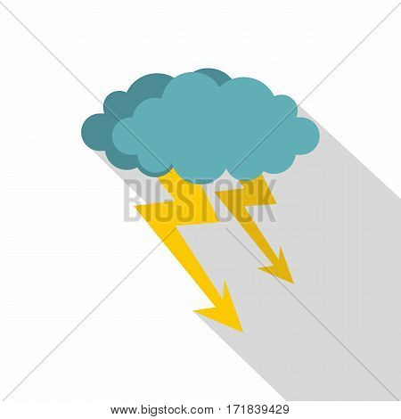 Cloud storm icon. Flat illustration of cloud storm vector icon for web isolated on white background
