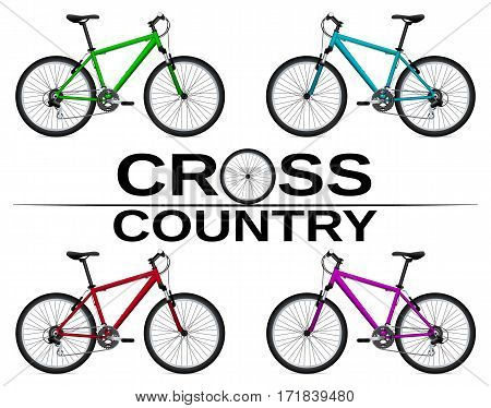 Cross-country bikes in different colors. Detail drawing. Isolated object. Vector Image.