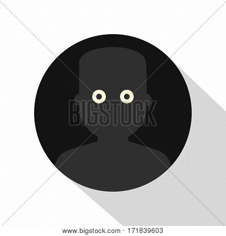 Frightened man in the darkness icon. Flat illustration of frightened man in the darkness vector icon for web isolated on white background
