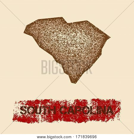 South Carolina Distressed Map. Grunge Patriotic Poster With Textured State Ink Stamp And Roller Pain