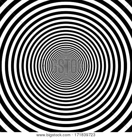 pattern of decreasing circles, the effect of the tunnel tending to infinity and circles on the water, vector coloring Zebra