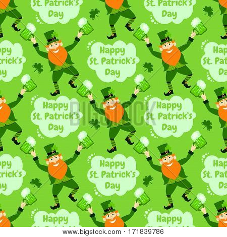 Happy St. Patrick's Day. Funny leprechaun with beer. Holiday seamless pattern.