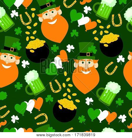 Funny seamless pattern with leprechaun, hat, green beer, flag, gold, clover and horseshoe.  Happy St. Patrick's Day. Holiday cartoon background.