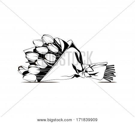 vector monochrome contour illustration of flower bouquet