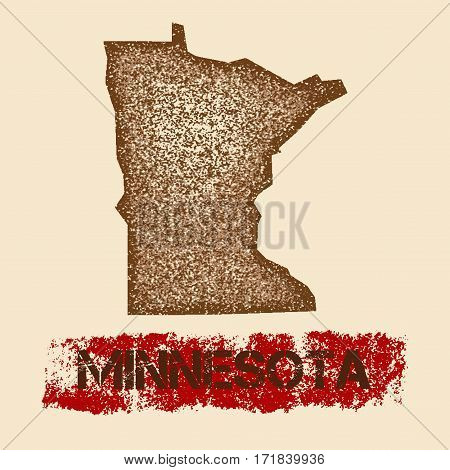 Minnesota Distressed Map. Grunge Patriotic Poster With Textured State Ink Stamp And Roller Paint Mar