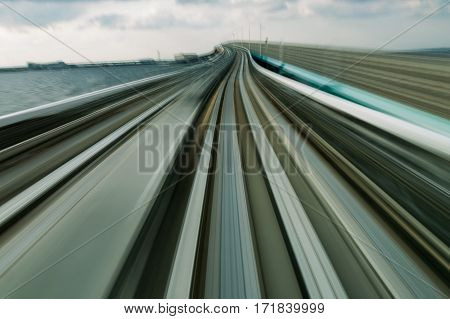 Metro train moving blurre motion abstract background