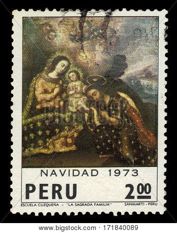 Peru - circa 1973: A stamp printed in Peru shows christmas painting of the Cuzquena school - Holy Family, series christmas, circa 1973