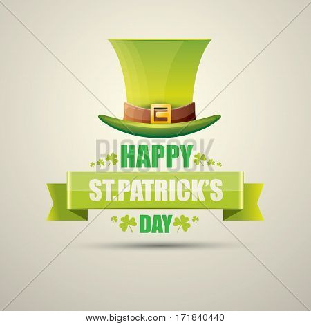 vector happy saint patricks day label or poster with green hat, lucky clovers and vintage ribbon isolated on background. vector vintage leprechaun green glossy hat icon