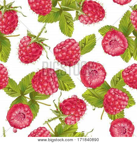 Vector raspberry seamless pattern. Background design for sweets and pastries filled with raspberry, dessert menu, health care products., natural cosmetics. Best for wrapping paper.
