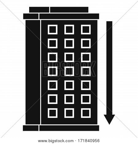 Tall building and down arrow icon. Simple illustration of tall building and down arrow vector icon for web