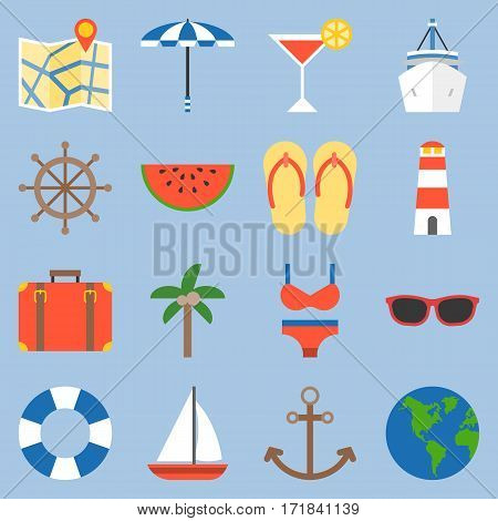 holiday and vacation on sea icon, flat design