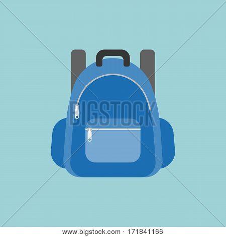 blue rucksack or backpack illustration, flat design