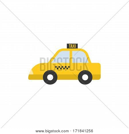 Taxi icon, Yellow car, flat design vector