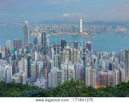 Hong Kong city business downtown aerial view from the peak point of view