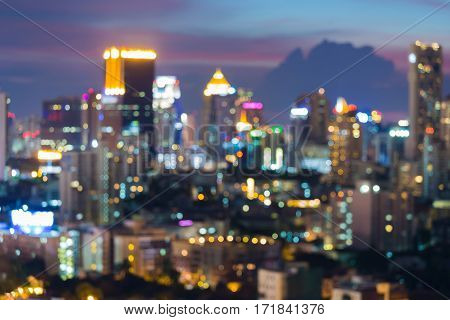 City blur light aerial view abstract background