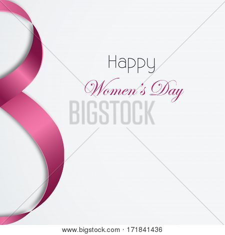 International Women's Day Vector illustration Template of poster for 8 March with pink satin ribbon on white background in realistic style