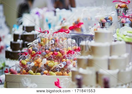 Colorful Candies At Wedding Reception Or Event Party.