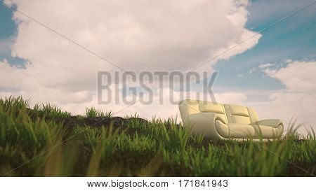 concept 3d illustration of the white leather sofa outdoor