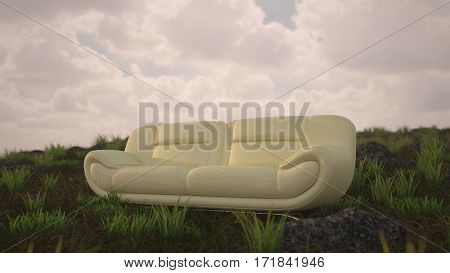 Concept 3d rendering of the white leather sofa outdoor