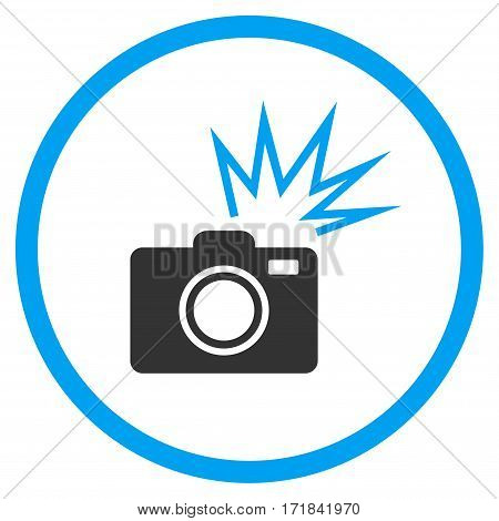Camera Flash rounded icon. Vector illustration style is flat iconic bicolor symbol inside circle blue and gray colors white background.